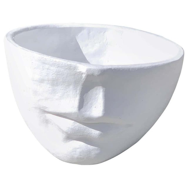 Stone Modern Cast Stone Half Face Planter For Sale - Image 7 of 7