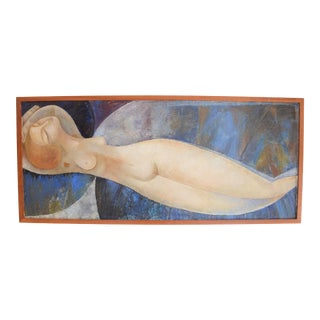 Modigliani Style Reclining Nude Original Oil Painting, Framed Early 1900's Russia For Sale