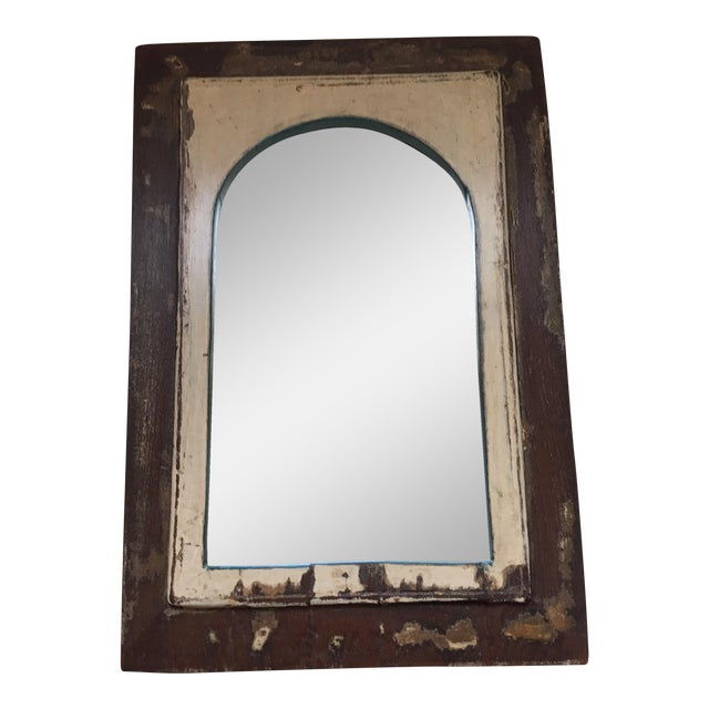 Vintage Indian Archway Painted Teak Mirror For Sale