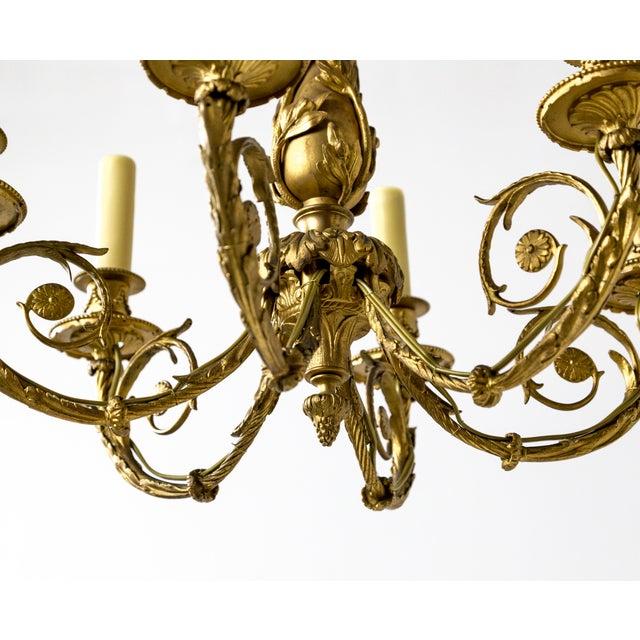 Metal Art Nouveau Gilt Bronze Chandelier With Ladybugs & Flora Scrolls For Sale - Image 7 of 12