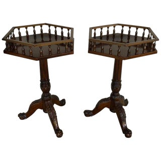 Pair of Georgian Style Mahogany Wine Tables For Sale