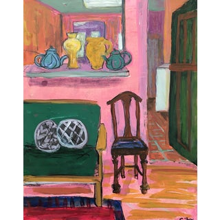 "2019 Expressive Interior Acrylic on Panel ""Blushing Room"" by Carolyn Fox For Sale"