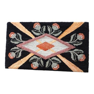 Fantastic Floral and Graphic Mounted Hand-Hooked Rug For Sale