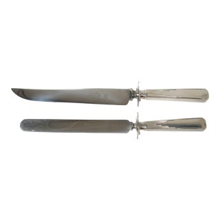 English Art Deco Carving & Sandwich Knife Set For Sale