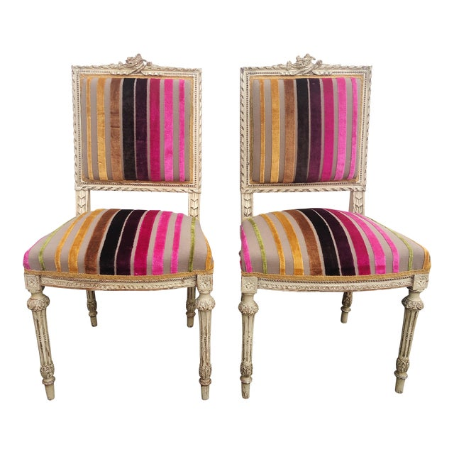Antique French 19th Century Louis XVI Side or Hall Chairs - Set of 2 For Sale