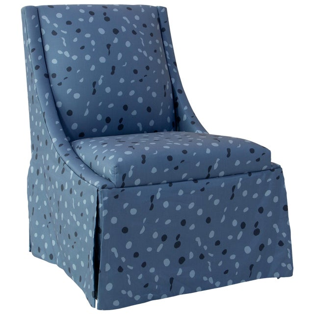 Skirted Accent Chair in Blue Dot by Angela Chrusciaki Blehm for Chairish For Sale