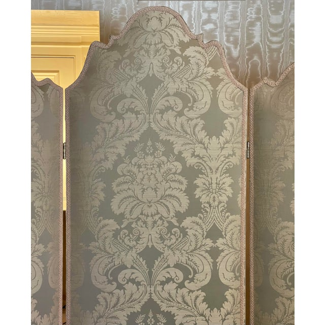 Vintage Scalamandre Damask Louis XVI Style 3 Panel Room Divider Floor Screen