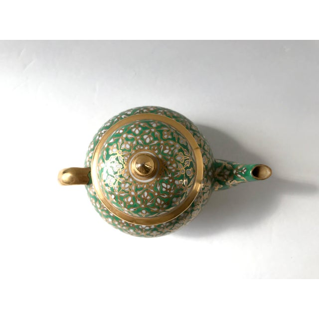 Metal Antique Old Paris Porcelain Green and Gold Teapot For Sale - Image 7 of 10