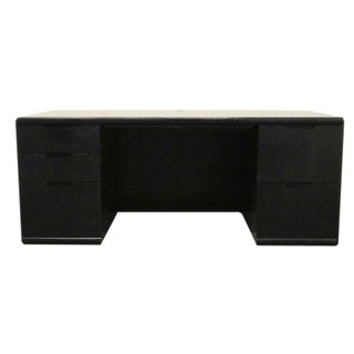 Mid-Century Modern Kimball International Black Bow Front Executive Desk For Sale