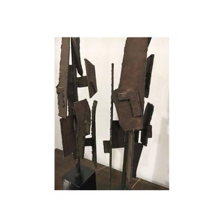 Pair of Abstract Solid Welded Brutalist Metal Table Lamps, Mid-Century Modern For Sale