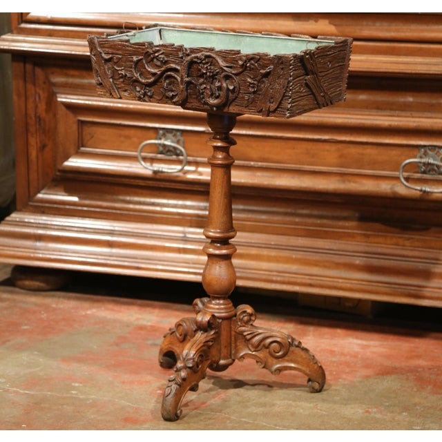 19th Century French Carved Walnut Black Forest Pedestal Jardiniere With Liner For Sale - Image 4 of 11