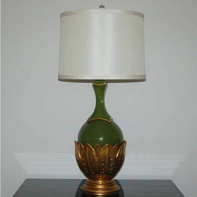 The Marbro Lamp Company Marbro Italian Ceramic Table Lamps Artichoke Green For Sale - Image 4 of 10