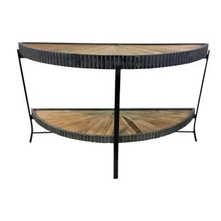 Industrial Modern Reclaimed Wood Starburst Console Table For Sale