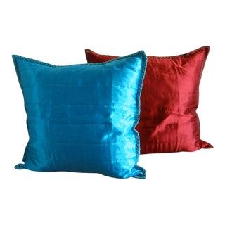 Italian Anichini Silk Throw Pillows-a Pair For Sale