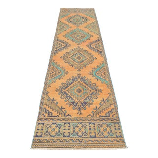 Distressed Oushak Runner Rug Faded Colors Low Pile Hallway Decor - 3' X 12' For Sale