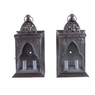 Madcap Cottage Pierced-Metal Moroccan Wall Lanterns, Pair For Sale