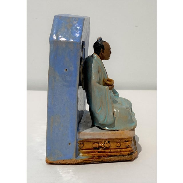 Early 20th Century Antique Early 20c Figurine Buddha With Alms Bowl in Glazed Pottery For Sale - Image 5 of 11