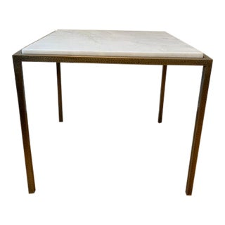 Interlude Home Marble Hammered Metal Side Table For Sale