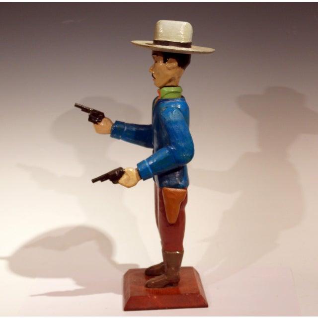 Figurative Old Folk Art Figurine of Gunslinger Western Cowboy Gambler For Sale - Image 3 of 11