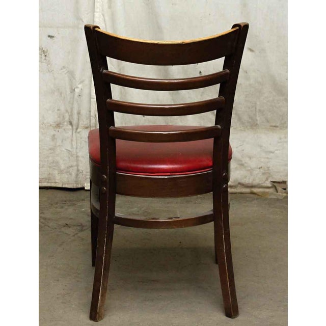 Wood Red Seated Chairs - a Pair For Sale - Image 7 of 8