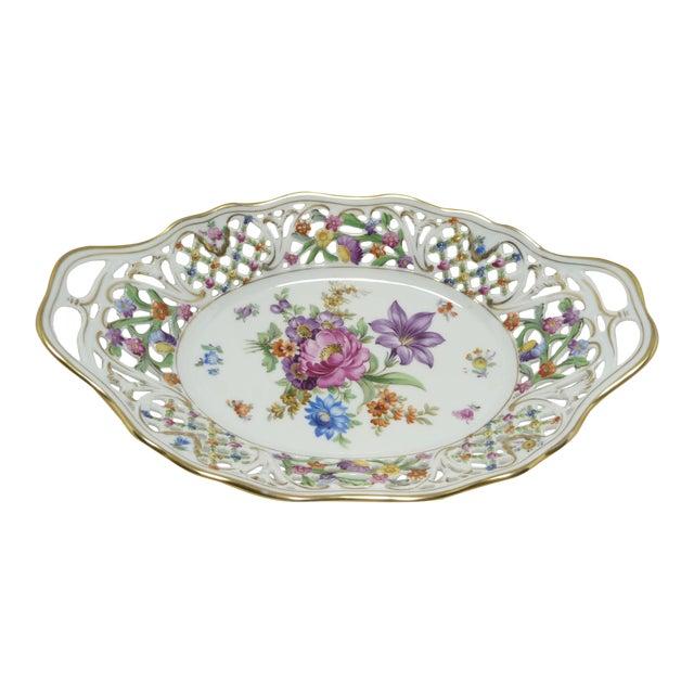 Vintage Porcelain Schumann Dresden Floral Bouquet Oval Serving Dish W Handles - Image 1 of 8