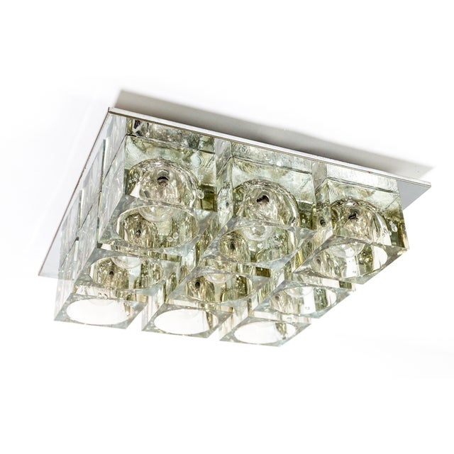 Lightolier Glass Blocks 9-Light Flush Mount For Sale - Image 10 of 13