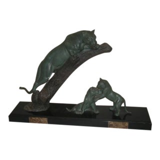 """Early 20th Century """"Panther and Cubs"""" Bronze Statue"""
