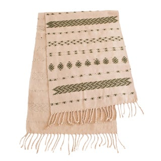 Handwoven Guatemalan Dusty Rose and Olive Green Table Runner For Sale