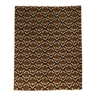 "Modern Chocolate Bars Hand Knotted Rug- 7'9"" x 9'7"" For Sale"