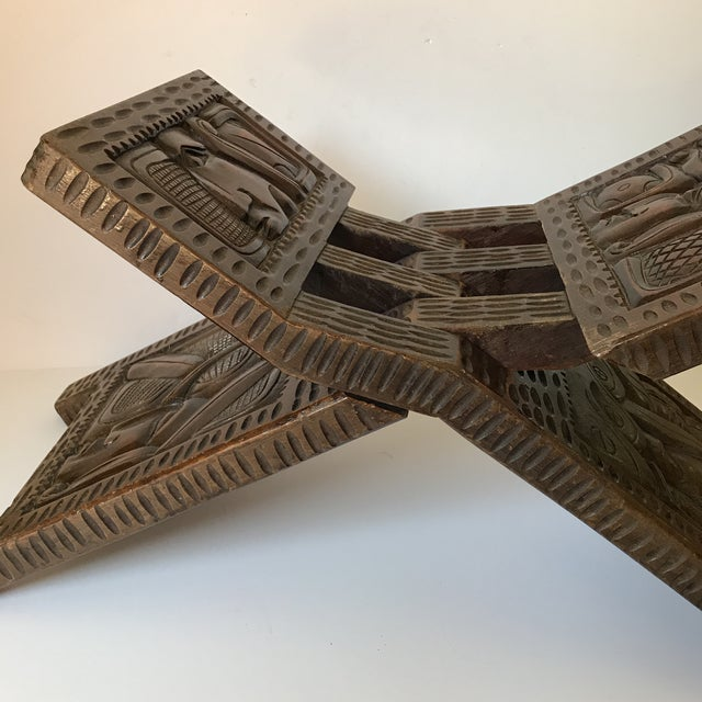 1900s Antique Hand Carved Wooden Folding Stool For Sale - Image 5 of 9
