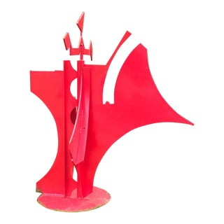 Carole Eisner, Queen of Hearts, Red Steel Sculpture, Outdoor, Found Metal, Garden Sculpture 1997 For Sale