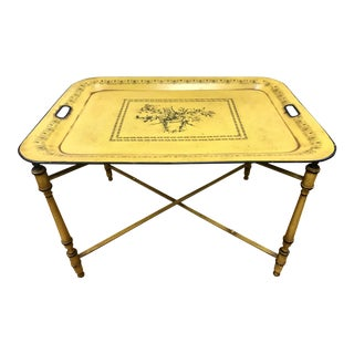 1950s Italian Yellow Tole Tray Table For Sale