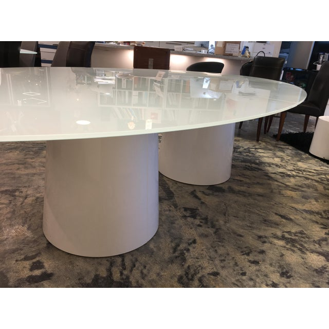 White Antares Italian Oval Glass White-Lacquer Base Table For Sale - Image 8 of 10