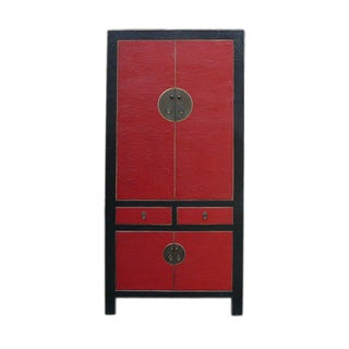 Chinese Red Black Lacquer Armorie/Wardrobe/Cabinet