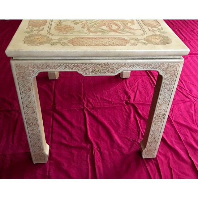 Asian 1980's Chinoiserie Custom John Widdicomb Mario Buatta Incised Phoenix Lamp Table For Sale - Image 3 of 12
