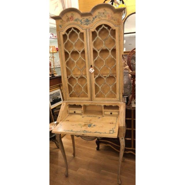 Paint Antique Italian Paint Decorated Secretary Desk For Sale - Image 7 of 9