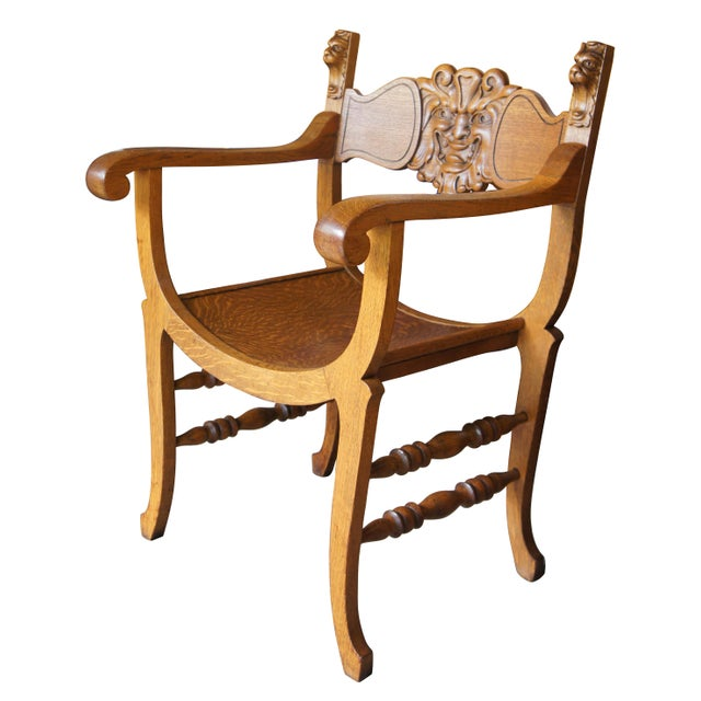 Wood Late 19th Century Antique Victorian Renaissance Revival Oak Curule Seat Chairs- Set of 5 For Sale - Image 7 of 13