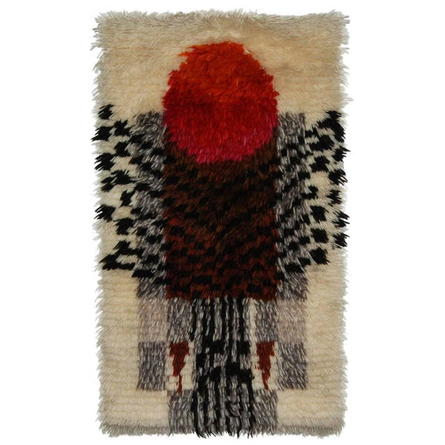 1960's Denna Rya Vintage Abstract Wool Tapestry/Rug -- 1′8″ × 2′9″ - Image 2 of 8