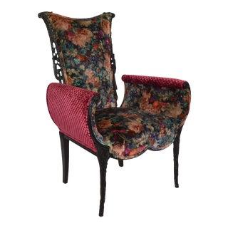 Hollywood Regency Velvet Floral Upholstered Vintage Chair