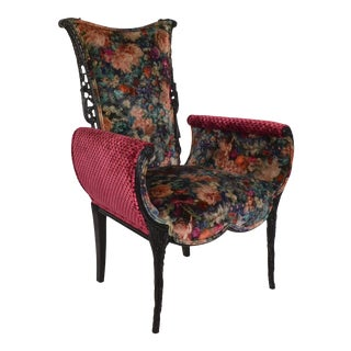 Italian Carved Velvet Floral Upholstered Vintage Chair