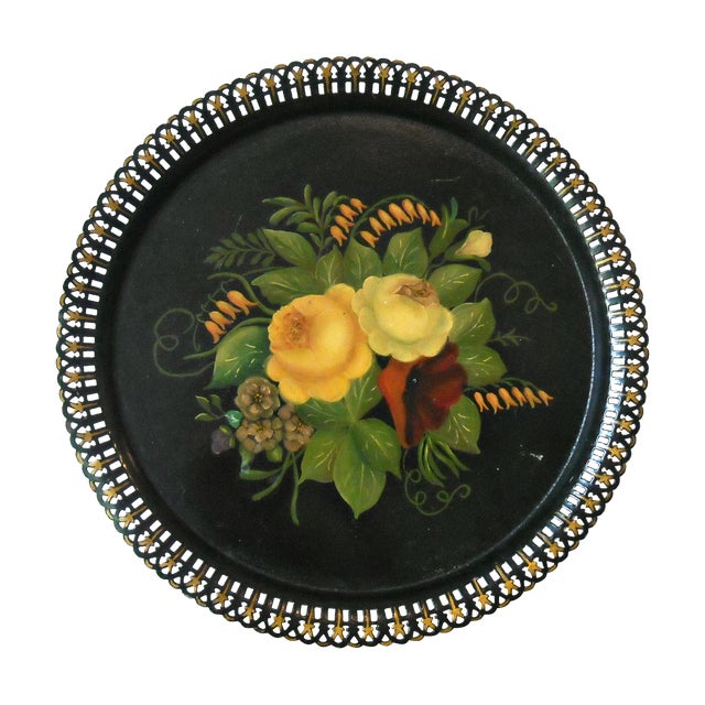 Antique Round Floral Tole Tray - Image 1 of 4