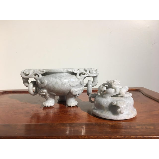 Chinese Gray Nephrite Jade Censer, mid 20th century For Sale In Austin - Image 6 of 9