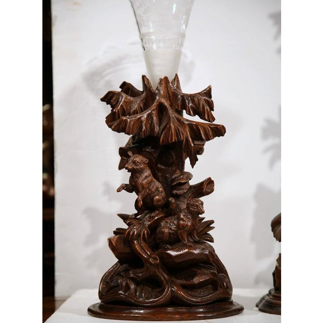 Carved Walnut Black Forest Clock & Matching Vases - Set of 3 For Sale In Dallas - Image 6 of 10