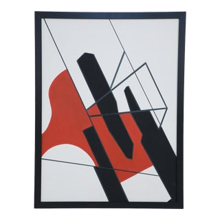 Framed Acrylic Abstract Painting of Geometric Shapes in Black, Red, and White For Sale