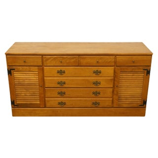 "20th Century Early American Ethan Allen Heirloom Nutmeg Maple 60"" Shutter Door Dresser For Sale"