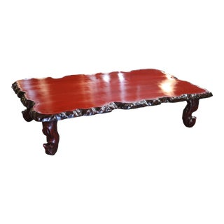 19th Century Red Lacquered Cocktail Table For Sale