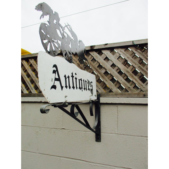 """Rusty Iron """"Antiques"""" Trade Sign Pegasus Horse - Image 7 of 11"""