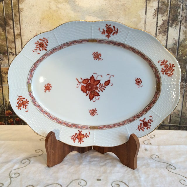 Asian Herend Chinese Bouquet Rust Oval Platter For Sale - Image 3 of 9