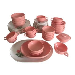 Vintage Mid Century Modern Pink & White Rose Catalina Melmac Dinnerware - 51 Piece Set For Sale