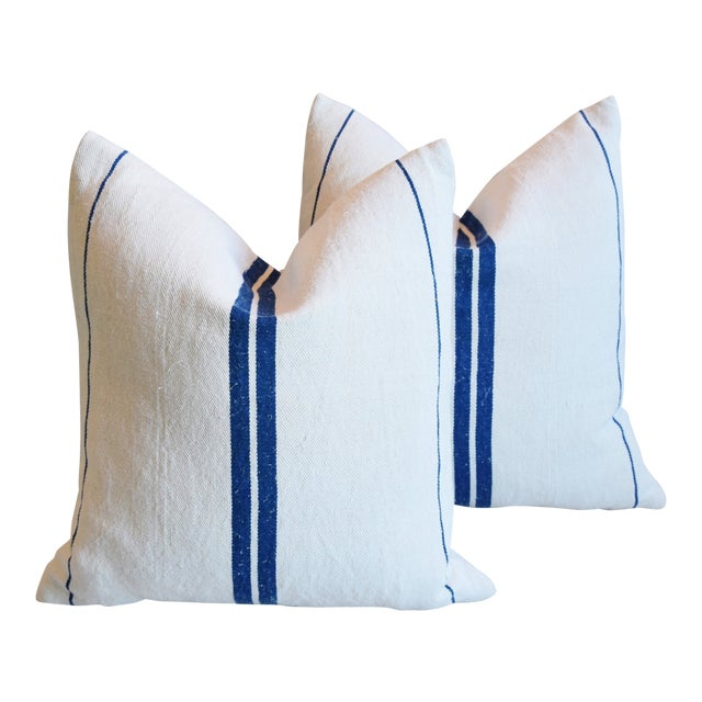 """French Blue Striped Grain-Sack Feather/Down Pillows 20"""" Square- Pair For Sale"""